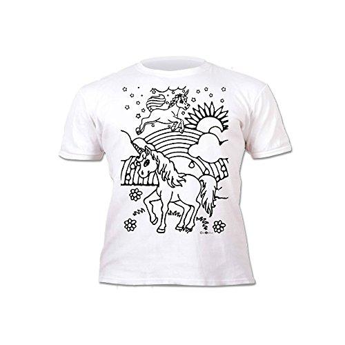 Kinder T-Shirt Mädchen Einhorn. Zum Bemalen und Ausmalen mit Vordruck. Mitgeliefert 6 auswaschbare Magic - Malstifte. Kindergeburtstag 3-4 Jahre