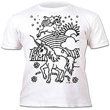 Splat Planet Camiseta Unicornio para niñas. con impresión para Pintar y Colorear. Incluye 6