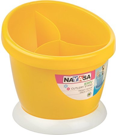 Nayasa Jerry Plastic Cutlery Stand Pack of 1 Yellow (With...