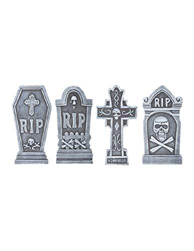 Gemmy (Sun Star) 4Stück Rip Grabsteine mit Skulls Set Halloween Urlaub Dekoration Requisiten
