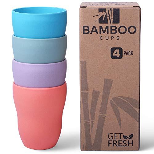 Get Fresh Vasos de bambú, paquete de 4, vajilla de bambú de fibra de bambú, vajilla de bambú no tóxica, vajilla ecológica, sin BPA (varios colores), juego de tazas de bambú