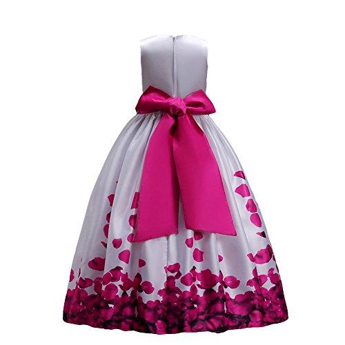 Fiore ragazze estivo abito principessa pageant vestito da cerimonia per la damigella floreale matrimonio carnevale rosa 5-6 anni