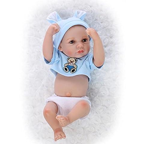 Nicery Réincarné bébé Poupée Doux Silicone Vinyle 10 pouces 26cm qui semble vivant Imperméable Jouet Blue Bear Garçon