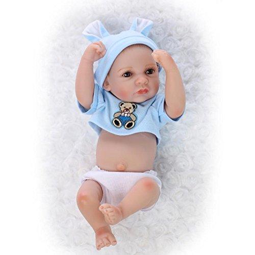NPKDOLL Réincarné Bébé Poupée Vinyle Silicone Dur 10 Pouces 26Cm Bleu Waterproof Jouet Garçon Ours Reborn Baby Doll A1FR