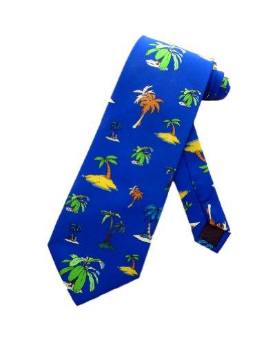 Parquet Männer tropische Insel Urlaub Oase Krawatte - blau - Einheitsgröße (Sand Fische Tropische)