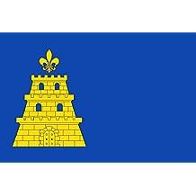 magFlags Bandera Large Paño azul de proporción 2/3; en el tercio al asta una torre amarilla | bandera paisaje | 1.35qm | 90x150cm