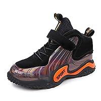 Aboygo Kids Winter Warm Shoes Flat Waterproof Kids Walking Hiking Shoes Outdoor Hiking Black/Orange 11.5 UK child