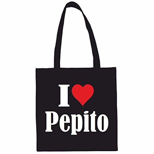Sac à Bandoulière I Love Pepito Shopping Bag Sac d'école Sac de Sport 38x 42cm en Noir ou Blanc.. Le cadeau parfait pour votre amoureux