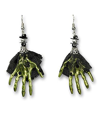 Kostüm Geist Tüll Machen (Ohrringe mit grünen Skeletthänden - Schmuck zu Geister Grusel Halloween)