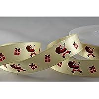 Poliestere raso avorio con design Babbo Natale 15mm x 20m