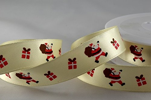 Poliestere raso avorio con design Babbo Natale 15mm x 1metro Lunghezza di taglio