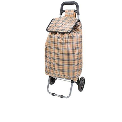 Amazinggirl Einkaufstrolley Einkaufswagen mit Abnehmbarer Tasche Einkaufsroller (Beige, 42 L)