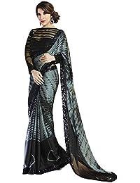Pahal Fashion Women's Chiffon Saree With Blouse Piece (Pblacksofi_Black)