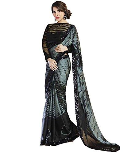 Pahal Fashion Women's Satin Saree With Blouse Piece (Eonprint,Black,Free Size)