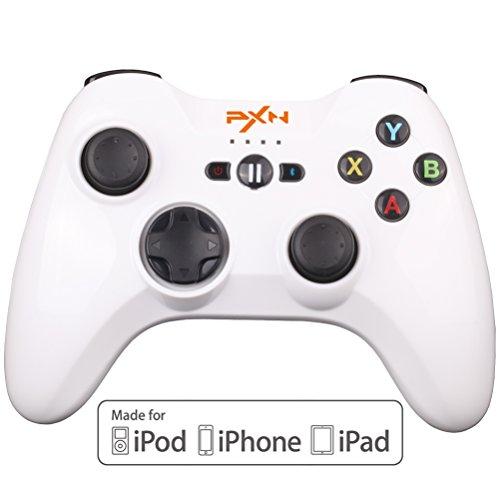 BEBONCOOL PXN Bluetooth Game Controller Gamepad Joypad für iPhone, iPad, mit abnehmbarem handyhalter, Apple MFi zertifiziert (weiß)