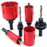 M42 Perforación Resistente Sierra de Corona Juego Corte Kit Abridor Broca Carpintería Herramientas para Madera Acero Hierro (22mmRed)