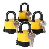 Generic Padlock Pad Lock Same Key 4pcs Keyed Alike Waterproof Laminated Gate Door 40mm <1&1653*3>