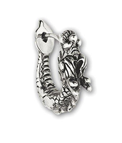 Echt etNox BO800 - Orecchini ad anello in bronzo placcato argento, motivo: dragone d'argento