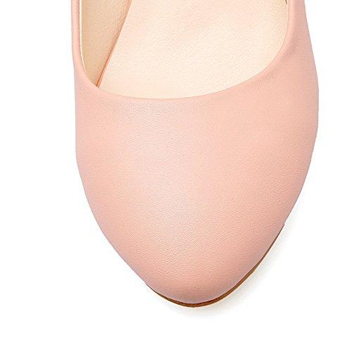AllhqFashion Femme à Talon Correct Mosaïque Boucle Matière Souple Rond Chaussures Légeres Rose