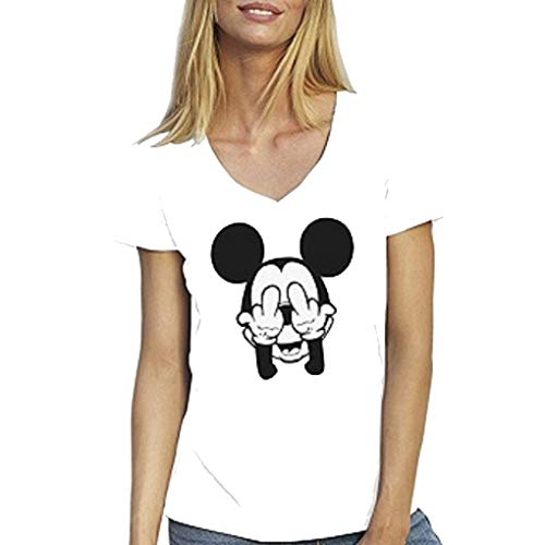 fashion boutik t Shirt Blanc Femme Mickey Fuck Humour du XS au XXL (38, Blanc)