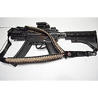 Acido Tactical® 550Paracord corda da paracadute per fucile con bussola e pietra focaia 127cm Airsoft Paintball–(Desert Camo/nero) - Paintball Gun Slings