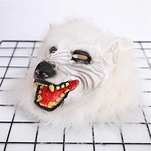 SJZC Maske Halloween Cosplay Wolfskopf Masken Silikon Erwachsene Prop Kind Spielzeug,White