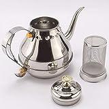 Virtue 1.2L Gooseneck Pour Coffee Drip Kettle Sliver Stainless Steel Tea Filter Pot Thicken Coffee Tea Pot Coffee Shop Coffee Jug
