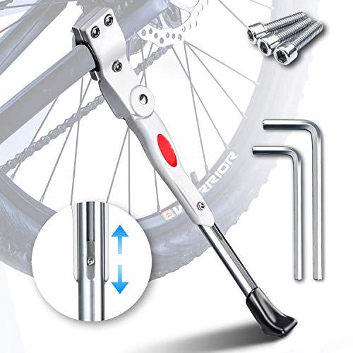 HENMI Fahrradständer 4 cm Höhenverstellbar und Universal Seitenständer, Dauerhaft Bike Stand gemacht durch Aluminiumlegierung, Weiß