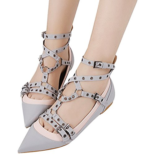 OCHENTA da donna punta Rivet Studded fibbia piatta scarpe Grigio