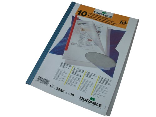 Durable 292619 Klemmschienenhülle (aus PP, für circa 1-100 Blatt) Beutel mit 10 Stück transparent