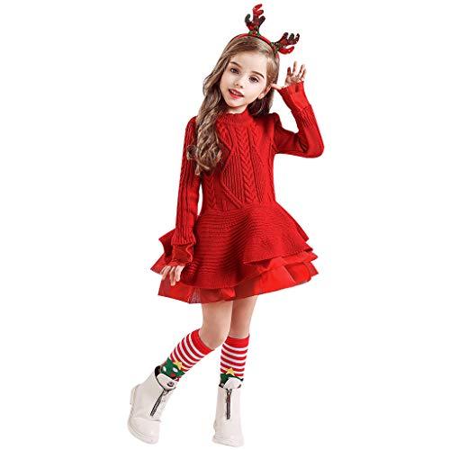 LEXUPE Cute Baby Mädchen Weihnachten Bekleidung Set Warm Fleece Top Pullover Weihnachten Kleid + Mütze Weihnachtskostüm Gr. 80 86 92(Rot,140)