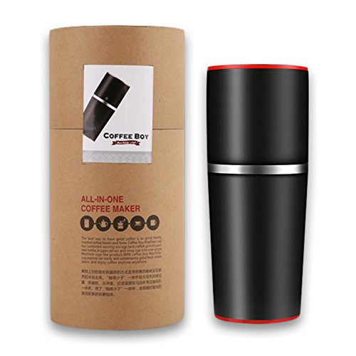 TDH Manuelle Kaffeemühle/tragbare Kaffeemaschine, für Reisen/zu Hause, tolles Geschenk, schwarz (Tragbare Mühle)