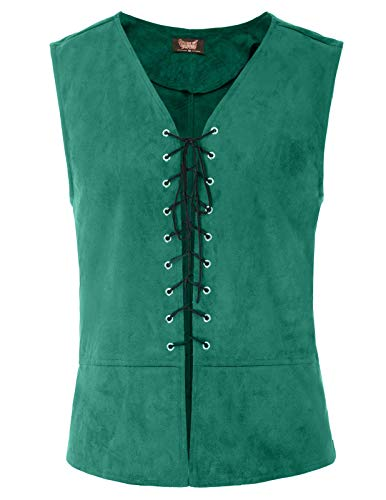 SCARLET DARKNESS Männer Mittelalter Weste Renaissance Kostüm Weste Tops Grün Größe XL (Renaissance Kostüme Männer)