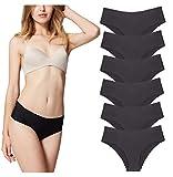 Misolin Damen Slips Nahtlos Unterwäsche Bikinis Taillenslips Seamless Unsichtbare Dehnbare Bequeme Panties Hipsters 6 Pack Schwarz L
