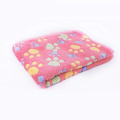 DERNON Pet Dog Blanket Cute Paw Muster Cat Dog Mats Weiches Fleece Warm Bed Blanket Rosa -