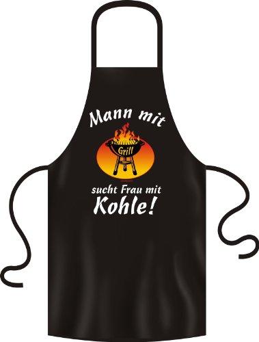 Schürze - Grillschürze - Kochschürze - Mann mit Grill sucht Frau mit Kohle - Lustige Sprüche Schürze als Geschenk für Grill Fans mit Humor
