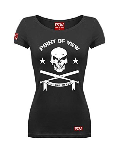 POV Cooles Damen T-Shirt Totenkopf Print Baseballschläger Schwarz