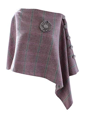 Blairies of Banffshire Poncho/Umhang aus Tweed, mit Seidenfutter, Rosa Rosa Tweed