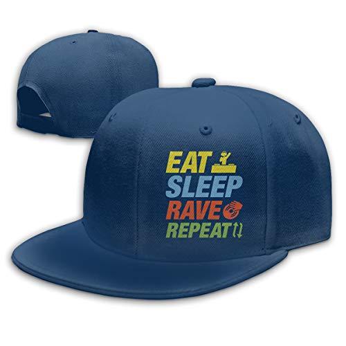 Abigails Home Eat-Sleep-Rave-Repeat Einstellbare Baseballmütze Hip-Hop-Mütze Herren Sport Navy Abigail Caps