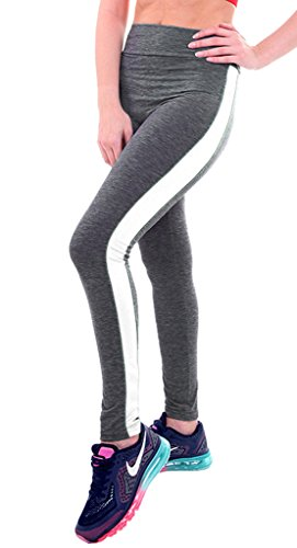 Bigood Femme Pantalon Carotte Leggings Yoga Collant Avec Rayure Elastique Slimmer de Sport Gris Blanc