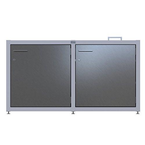 Grill-Schrank Outdoor Beistelltisch für den Garten - rostfrei und stabil - aus Edelstahl und Aluminium gefertigt - Edelstahl-Arbeitsfläche - Türen abschließbar - für Gas-Grills geeignet Edelstahl
