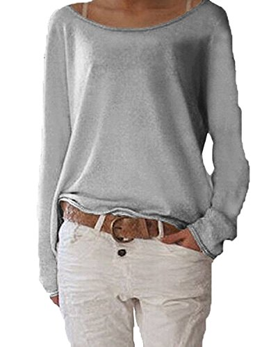 Damen Pulli Langarm T-Shirt Rundhals Ausschnitt Lose Bluse Hemd Pullover Sweatshirt Oberteil Tops Grau M