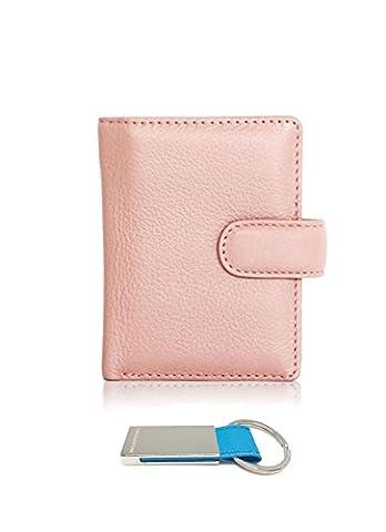 T&D Women's Genuine Leather Mini Slim Credit Card Holder Wallet (Indi Pink)