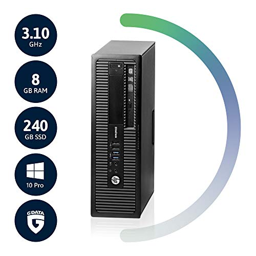 HP EliteDesk 800 G1 SFF Intel 3,1 GHz MultiCore CPU | 8GB RAM | 240GB SSD | DVD-RW | Win10 Pro | G Data Internetsecurity | Acronis True Image (Generalüberholt)
