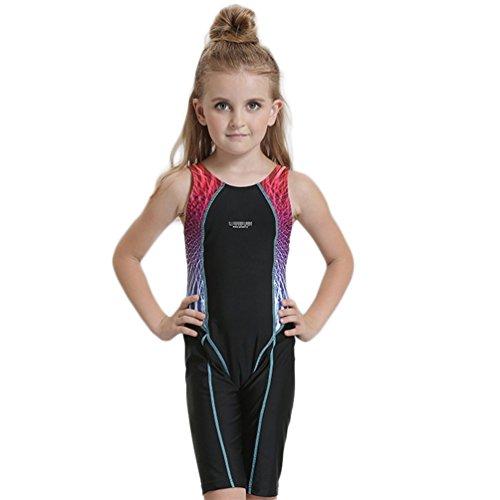 Peacoco Kinder Mädchen Schwimmanzug Bademode Badeanzüge blau 140 für 6-8 Jahre