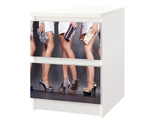 Set Möbelaufkleber für Ikea Kommode MALM 2 Fächer/Schubladen Schuh Sexy Kat3 Schuhe Frau high Heels Kleid Beine Aufkleber Möbelfolie sticker (Ohne Möbel) Folie 25F514 (Schublade Ikea Schuh)