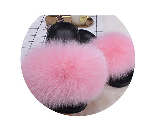 Fur Slides Summer Casual Flip Flops Beach Sandals Plush Shoes,Pink Faux Fox Fur,10.5 -