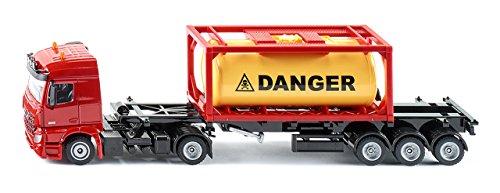 SIKU 3922, Mercedes-Benz LKW mit gerahmten Tankcontainer, 1:50, Metall/Kunststoff, Rot, Inkl. 1 Container, Abkoppelbarer Auflieger - Sammlung Rote Lackierung