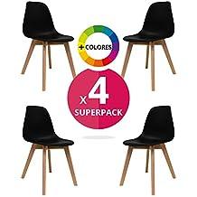 Silla Nórdica (Pack 4) - Silla escandinava Negra - silla nordic scandi inspirada en silla eames - Nordi - (Elige tu color)