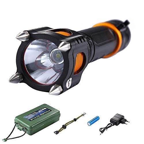 Asvert LED taktische Taschenlampe T6 Selbstverteidigung Zoomable 5 Licht Modi mit 18650 Akkus Wand Ladegerät und Batterie Tube für die Kampierende Jagd Notfalltaschenlampe, Schwarz
